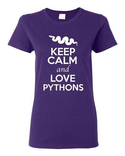 Ladies Keep Calm And Love Pythons Snake Animal Lover Wild Funny T-Shirt Tee