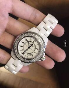 Authentic-Chanel-J12-White-Ceramic-Full-Diamond-Watch-Bag-Warranty-Aug-18