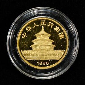 1986-10-YUAN-CHINA-1-10-oz-GOLD-PANDA-COIN-PROOF-OMP-LOT-Z125