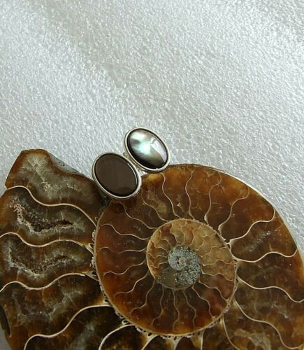Genuine Black Mother of Pearl Shell Silver Plated Cufflinks in Black Gift Pouch
