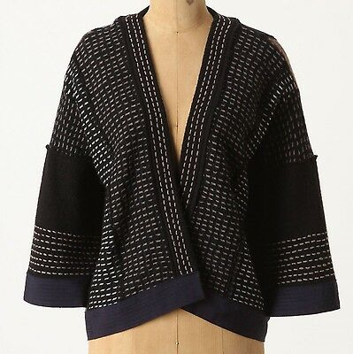Moth Finestra Cardigan Sweater Top Size Medium Blue Motif NW ANTHROPOLOGIE Tag