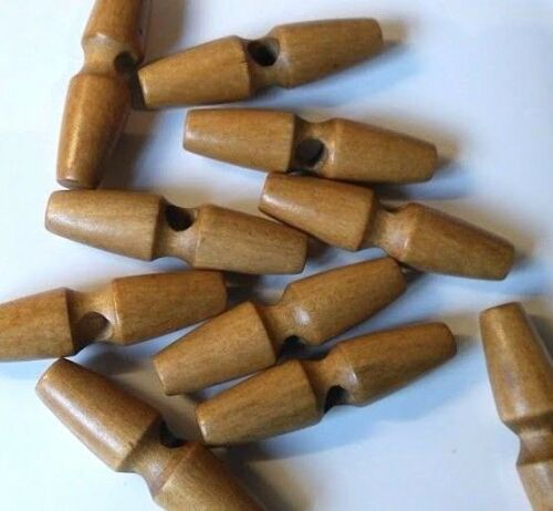 6 or 12 Natural Coffee Coloured Wood Toggle Buttons Sewing Duffle Coats 5x1.3cm