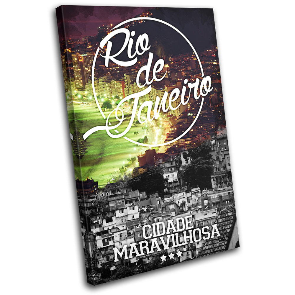 Rio De Janeiro Typography City SINGLE TOILE murale ART Photo Print
