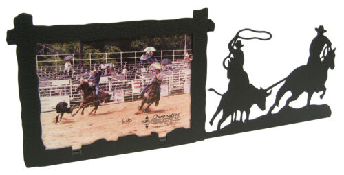 """Ropeing Team Roping Steer Rodeo Picture Frame 3.5/""""x5/"""" 3/""""x5/"""" H"""