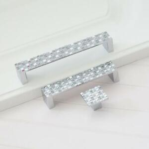 Mosaic Dresser Drawer Pull Handles Silver Square Kitchen Cabinet Handle Ebay