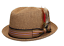 Fedora-Pork-Pie-Straw-Hat-w-Striped-Band-and-Removable-Feather-Summer-Cool-Hat thumbnail 6