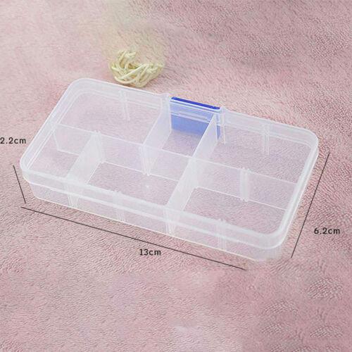 10x Fächer Klar Kunststoffbox Schmuckschachteln Perle Schraube Organizer ogzlx