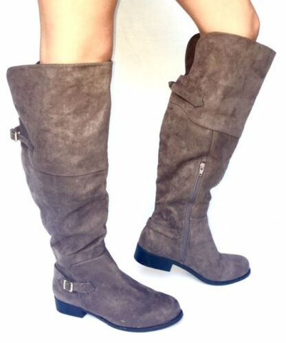 Women/'s Fashion Low Heel Thigh High Knee High Slouch Riding Boots Shoes-Brown