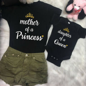 US-Family-Mom-Baby-Girls-Matching-Outfits-Queen-Tops-Princess-Romper-Clothes