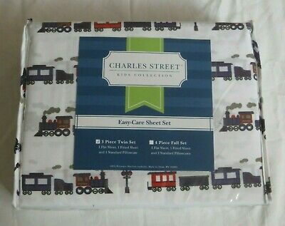 Full AUTHENTIC Kids White Blue CHOO CHOO TRAIN Railroad Sheet Set