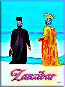 zanzibar island tanzania east africa travel advertisement art poster