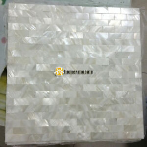 Brick Pure White Mother Of Pearl Groutless Shell Mosaic