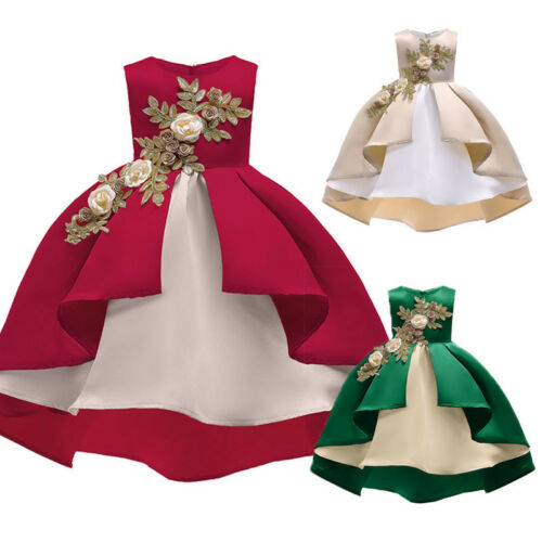 Floral Baby Girl Princess Bridesmaid Pageant Gown Birthday Party Gown Dress P
