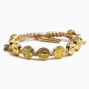 Details About My Saint Hero Faith Blessing Bracelet Gold Plated On Metallic Cord New