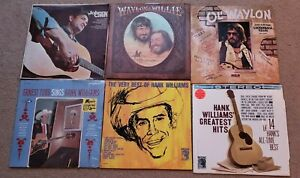 Lot Of 6 Country LPs Waylon And Willie Johnny Cash Hank Williams Ernest Tubbs