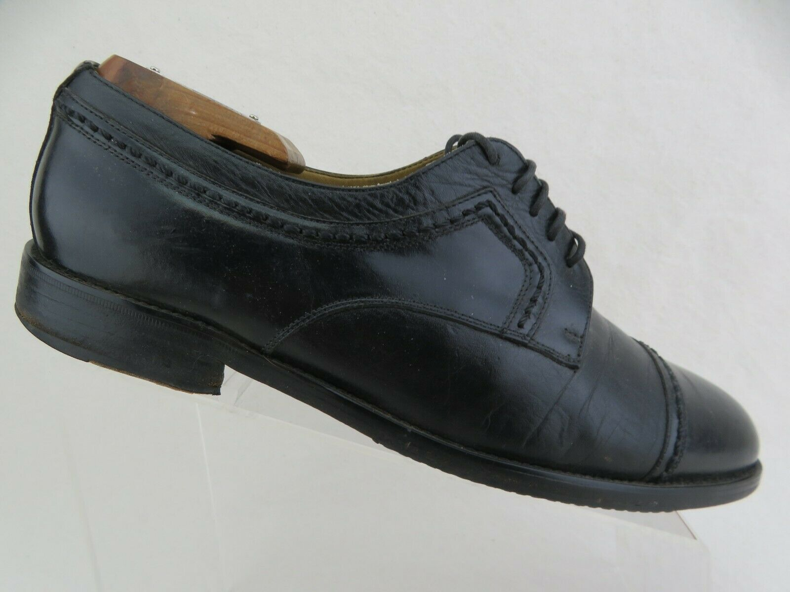 JOHNSTON & MURPHY Pantera Black Sz 9.5 W Wide Men Cap-Toe Derby Dress Shoes