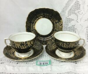 Vintage-Colclough-Gold-Chintz-On-Black-Porcelain-2-Cups-amp-Saucers-1-Side-Plate