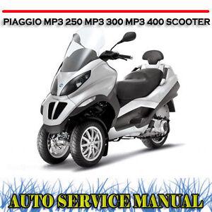 piaggio mp3 250 mp3 400 scooter workshop service repair manual dvd rh ebay com au piaggio mp3 400 manual piaggio mp3 400 ie manual