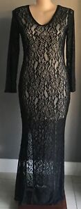 CLUB-L-Black-amp-Nude-Long-Sleeve-Stretchy-Lace-Gown-Plus-Sizes-18-22-24-26-28