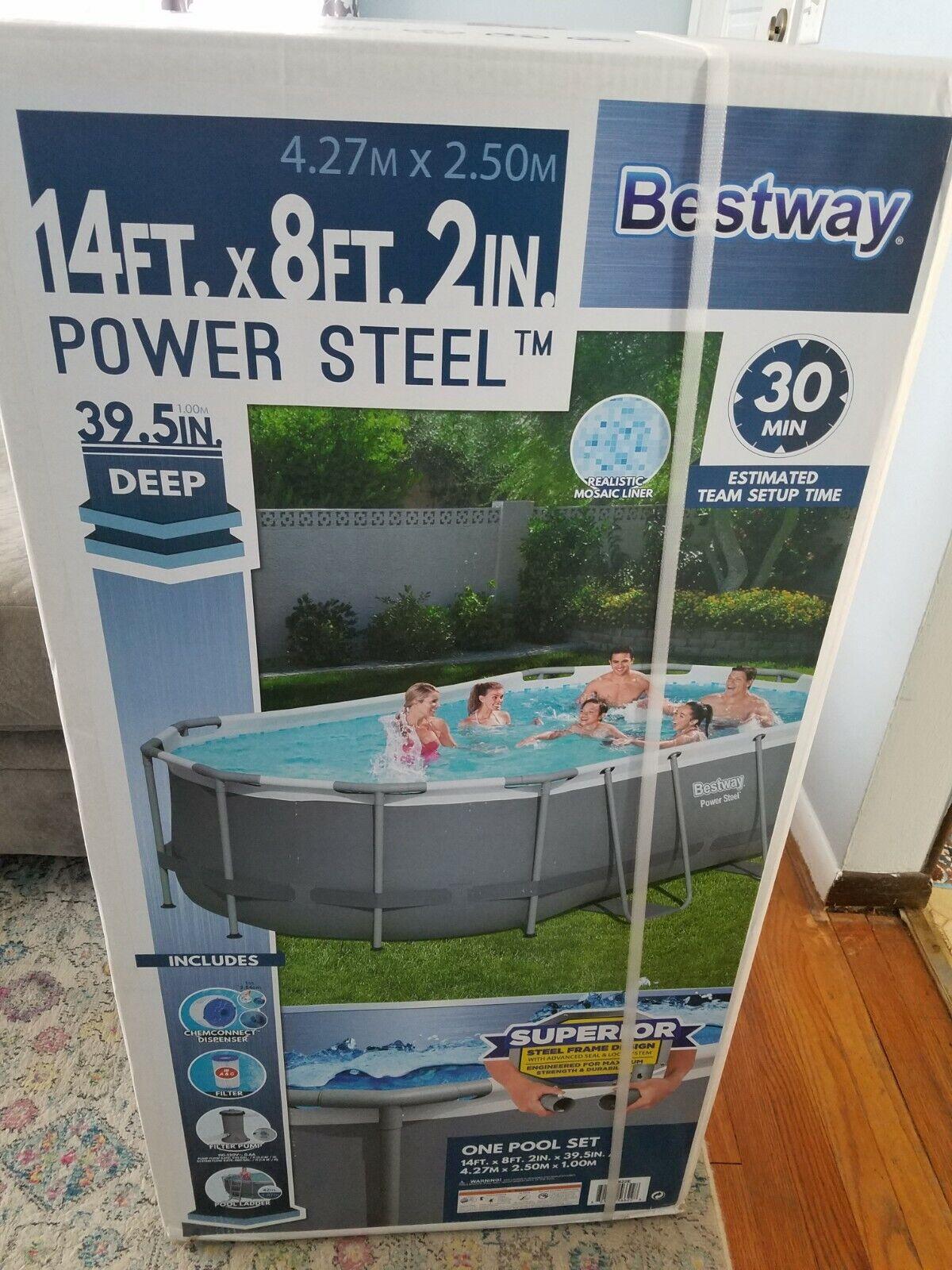Bestway Power Steel Oval Frame Pool Set 13.91' X 8.2' X 39.5