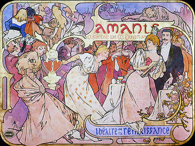 "Mucha Alfons Amants 1895--24/""x32/"" CANVAS ART Alphonse"