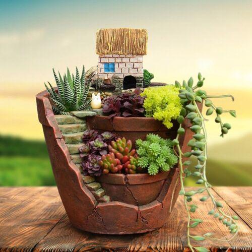 9x12cm Succulent Flower Basket Planter Plant Sky Garden Bonsai Pot Home Decor US