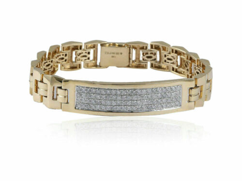 Classy Pave 1.92 Cts Natural Diamonds Men's Bracelet In Solid Hallmark 14K Gold