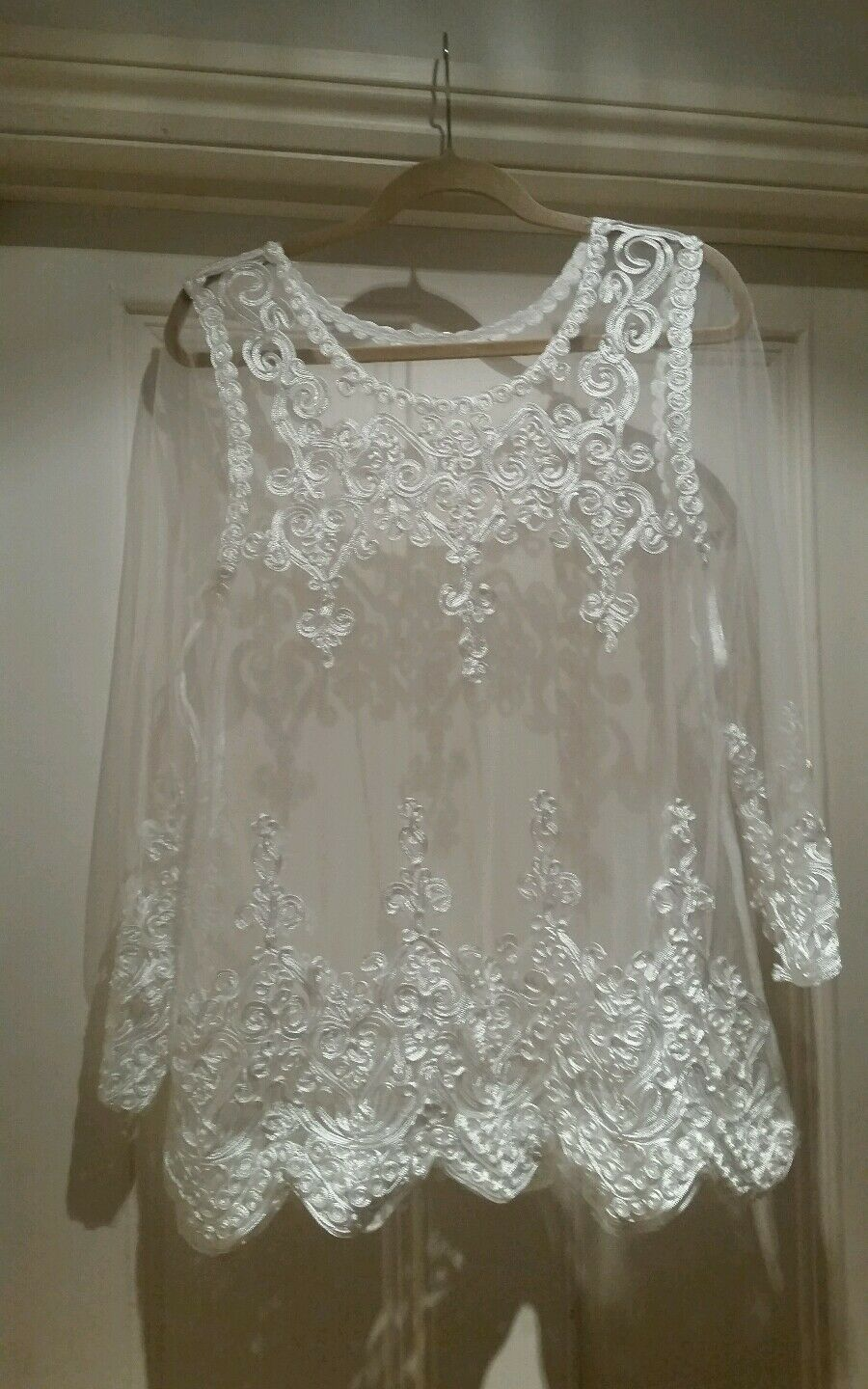 Weiß VINTAGE LACE SHEER BOHO HIPPY  TOP VICTORIAN WITH RIBBON SMALL - MEDIUM