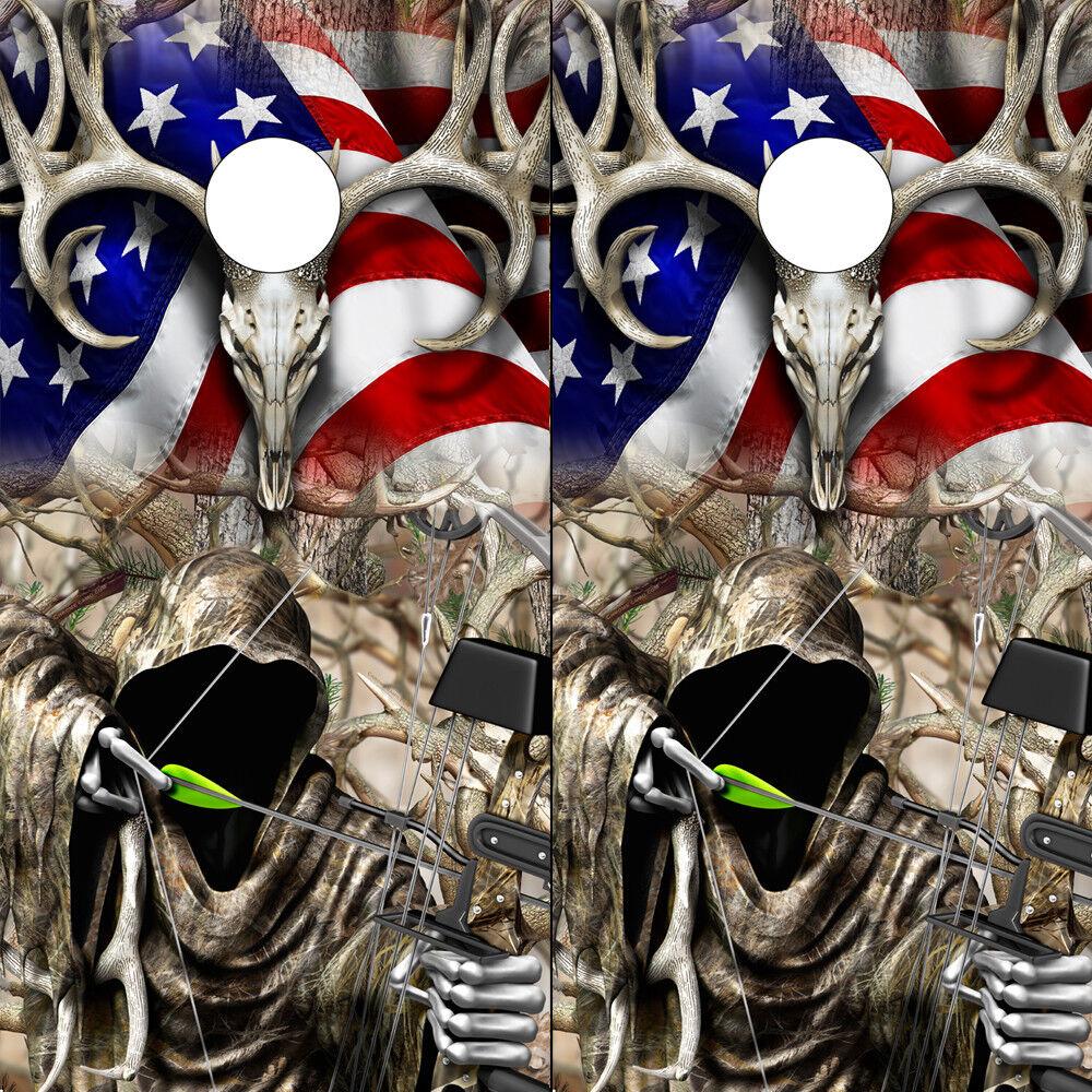 Cornhole Wraps  Cornhole Decals Deer Skull Grim Reaper Bow Hunter American Flag  trendy