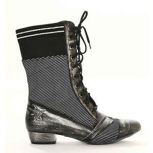 d9486c063f675 Das Bild wird geladen Maciejka-botas-cortas-cuero-gris-bloque-negro-tacon-