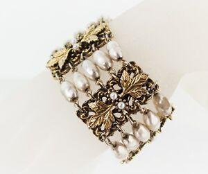 Vintage-TARA-FIFTH-AVENUE-034-Baroque-Line-034-Faux-Pearls-Haskell-Style-Bracelet