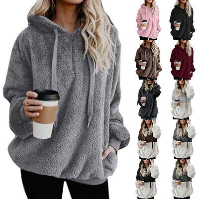 UK Womens Fur Fluffy Sweater Hooded Jumper Hoodie Overcoat Ladies Cardigan Coat