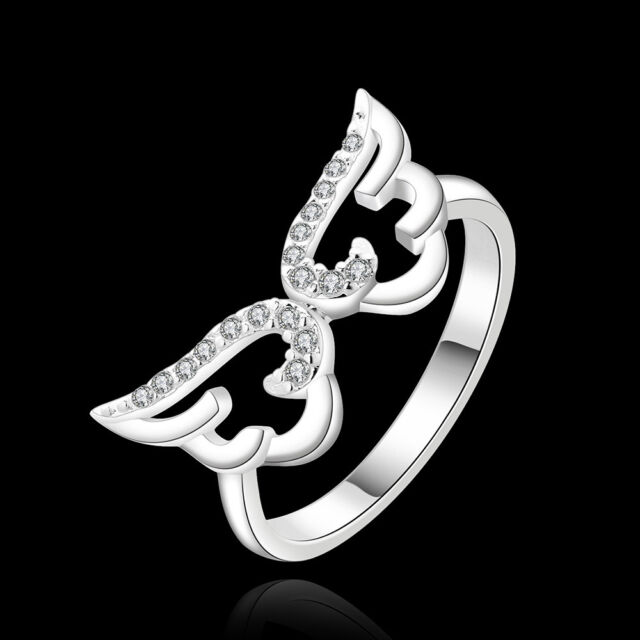 925Sterling Silver Zircon Hot Selling Magic Wing Women Jewelry Ring #8 R396