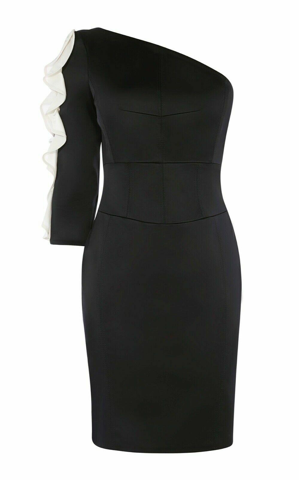 Nouveau Karen Millen Noir satin une épaule à volants Robe Tailles UK 10