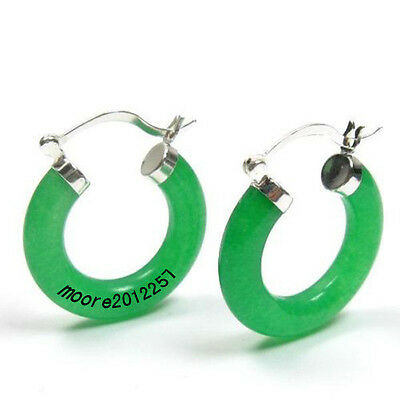 NICE Jade Gemstone 925Sterling Silver Click Hoop Fine Earrings Optional Color