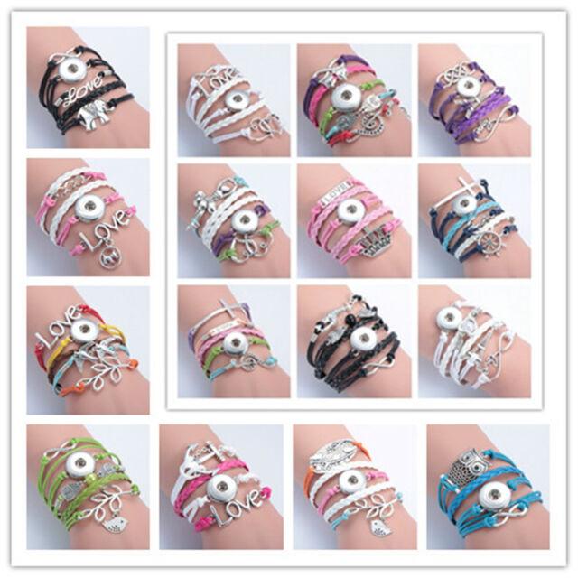 42 models Infinity leather Noosa Bangle Bracelet Fit 18mm Chunk Snap Button Pick