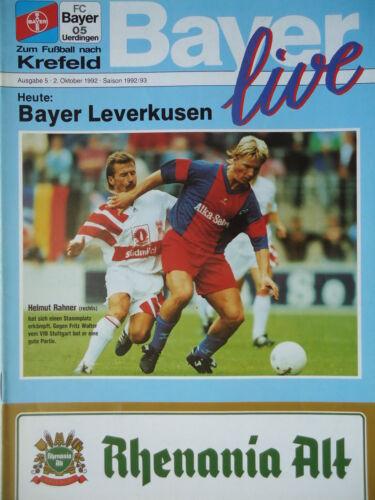 Programm 1992//93 Bayer 05 Uerdingen Bayer Leverkusen