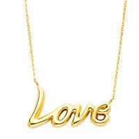 14k Solid Yellow Gold Cursive Love Pendant Necklace 1.6 Gr 17 + 1