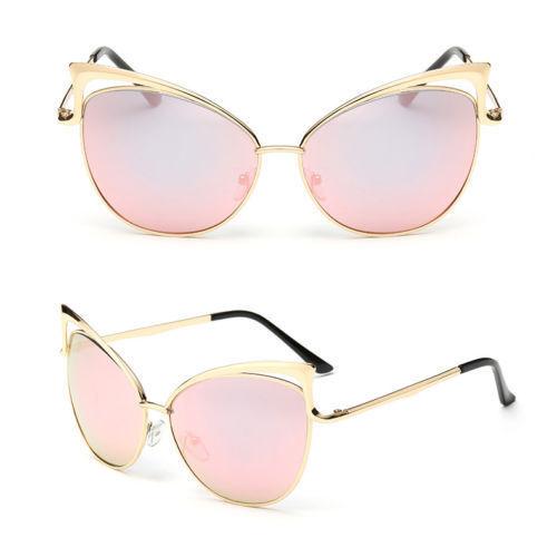 Le donne metallo OVERSIZE vintage oro Cat Eye Designer Moda Retrò Occhiali Da Sole UK