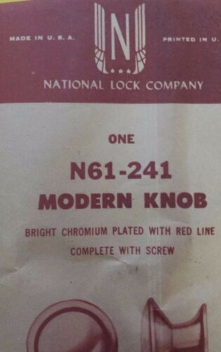 National Lock Company Chrome Red Line Vintage Antique Chrome Drawer Pull