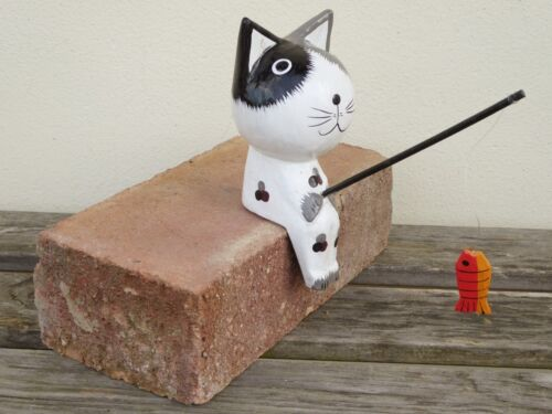 Cat Fishing Wooden Hand Carved 15cm GIANT 40cm Cat Also Available..