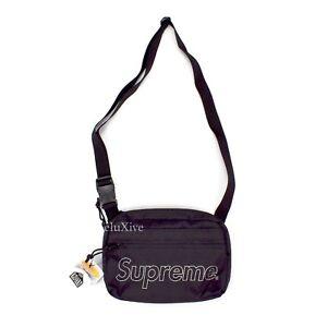 NWT Supreme NY Black Reflective Box Logo Print Small Shoulder Bag