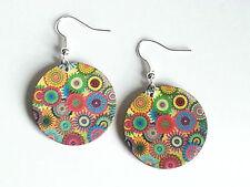 Geometric Wood Earrings Jewellery Colourful Bohemian Printed Wooden Oval Dangle