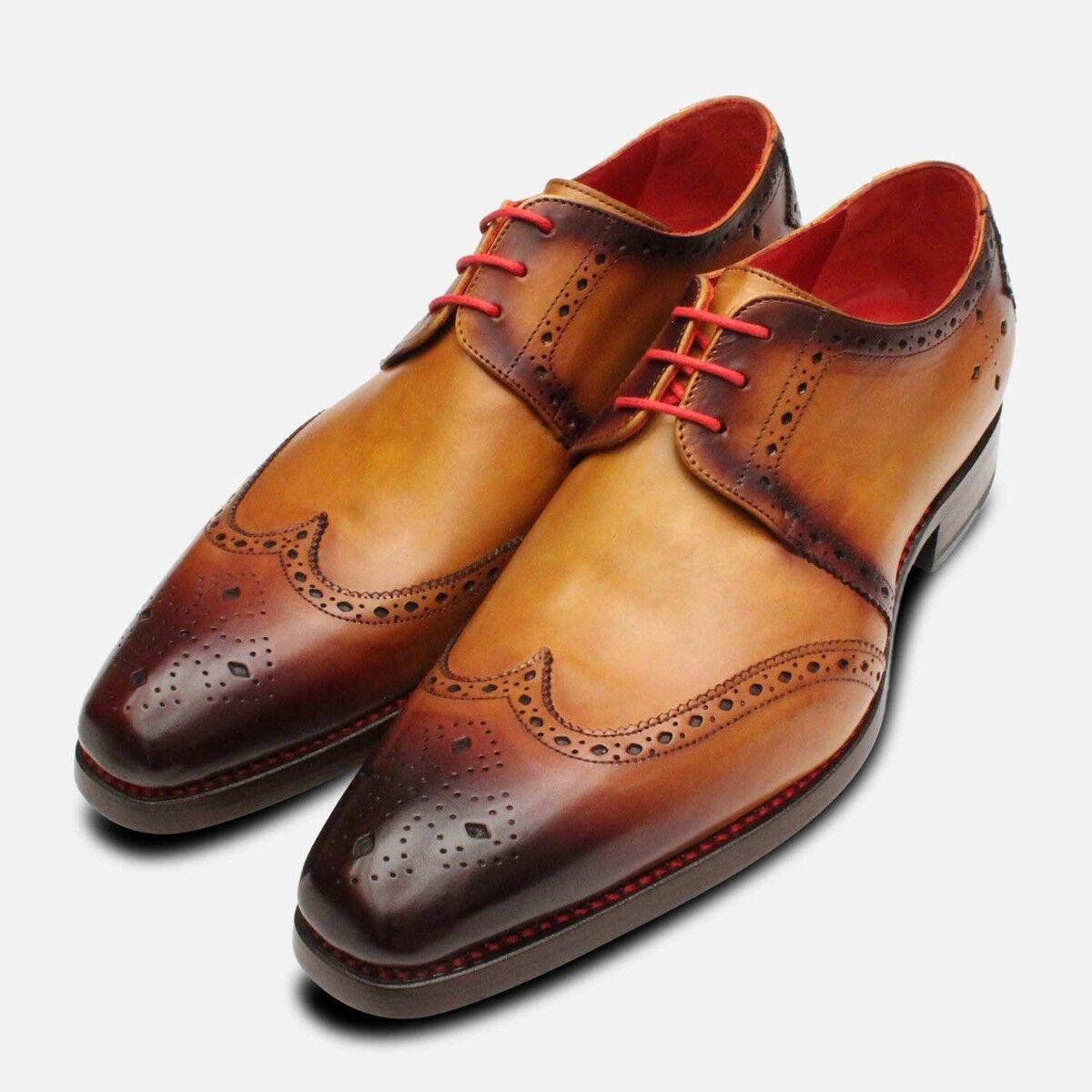 Jeffery West Tan Patina Diamond Brogue Mens shoes