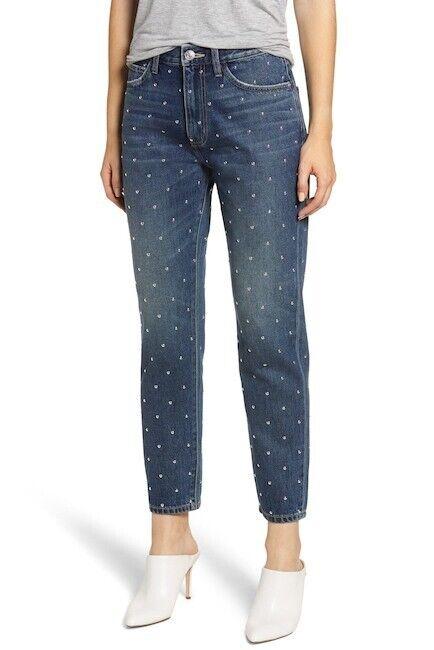 NEW Current Elliott Vintage Studded High Waist Crop Slim Jeans Sz 27