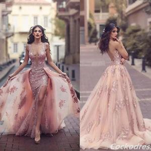 87d7e9e0a0 Image is loading Sexy-Blush-Lace-Appliques-Mermaid-Wedding-Dress-Detachable-