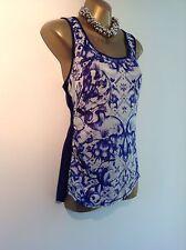 Karen Millen Tile Print Silk Front Vest size 10 TS357 S14S