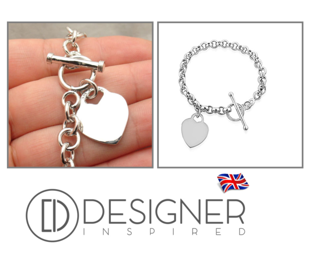 4bbd8132c Silver Heart Tag Rolo Bracelet Sterling 925 T Bar Toggle Charm Womens Girls  Gift