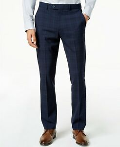 640b18443b $295 ORIGINAL PENGUIN Men's SLIM FIT BLUE PLAID SUIT TROUSERS WOOL ...