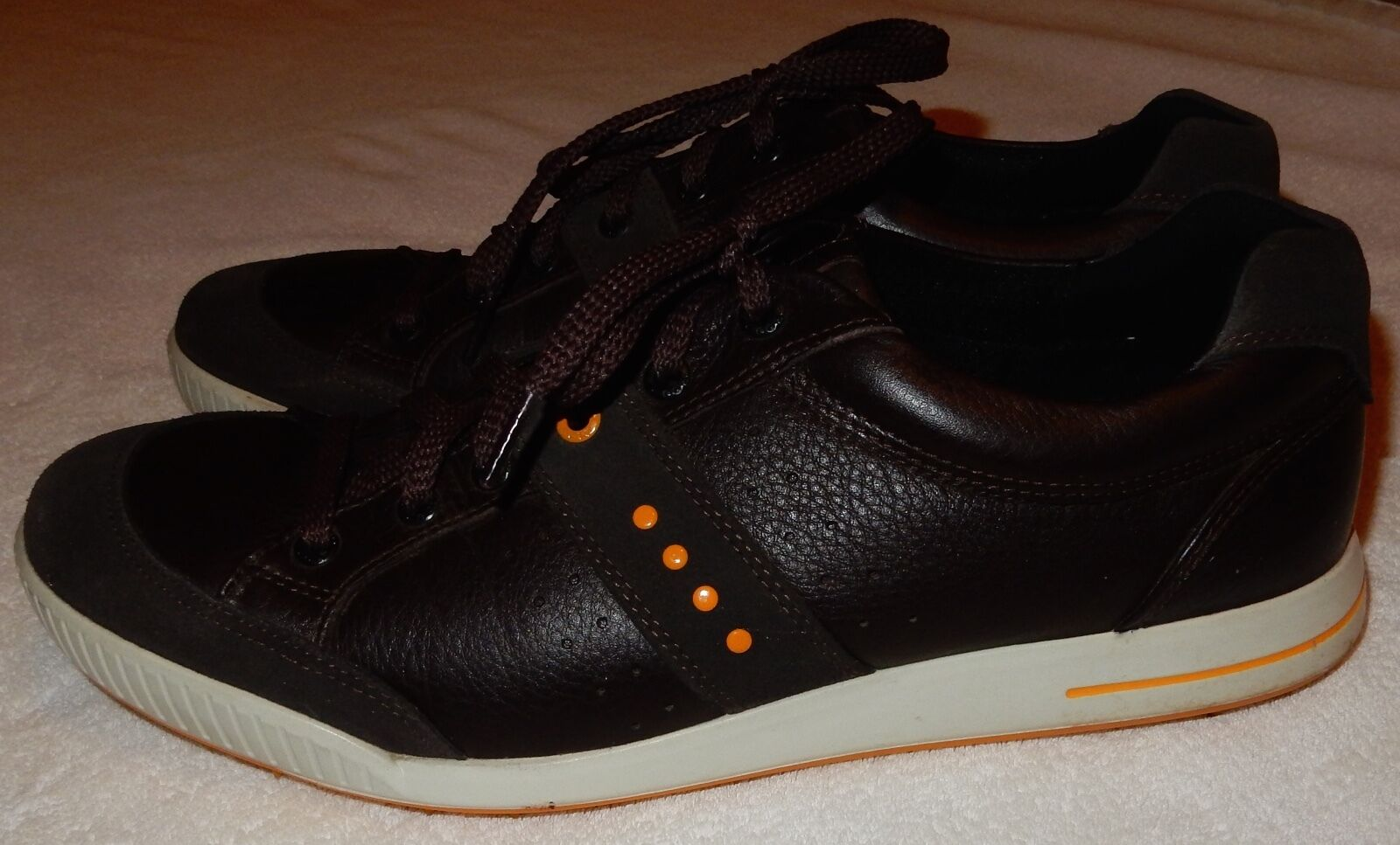 Mens Size 44 Ecco Brown Leather Shoes US 10-10.5